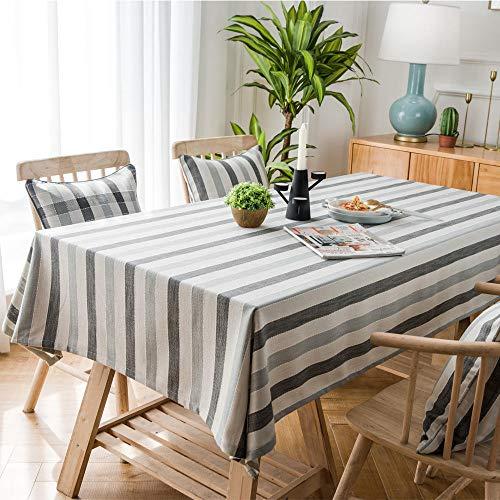 Dthlay Afwasbaar tafelkleed, eenvoudig wasbaar, katoen en linnen, frisse salontafel, tafelkleed, tafelkleed, grijze strepen