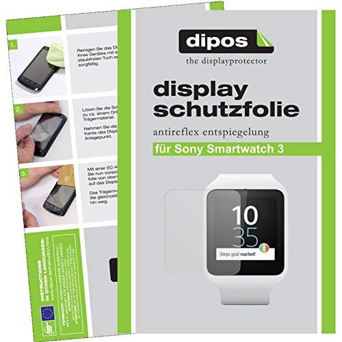 dipos–Protector de pantalla compatible con Sony Smartwatch 3(6unidades)–(antirreflectante, mate)