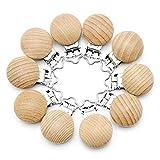 RUBY - 10 Pinzas clip madera para chupete, pinza chupete madera con 3 agujeros...