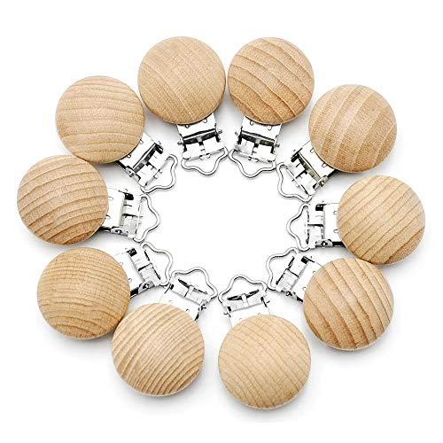 RUBY - Lot de 10 pinces en bois de hêtre de haute qualité, attache tétine, pinces tétine, pince en bois naturel (Pas de trou)