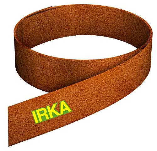 IRKA Rasenkantenband aus Corten Stahl 20 cm hoch Rasenkante mit Versteifungskante Beeteinfassung 10 Meter