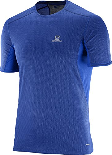 Salomon Homme T-Shirt de Trail Running à Manches Courtes, TRAIL RUNNER SS, Jersey/Carbone de Bambou, Bleu, Taille S, L39385600