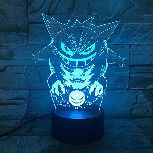 Lámpara de Cambio de Color de Dibujos Animados luz de Noche Colorida acrílico ilusión Visual lámpara de decoración de batería Regalo para niños Barco Que Cae