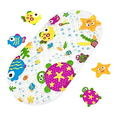Yolife Duck Suckers Alfombrilla de baño Antideslizante Plástico Antideslizante Baño PVC Dibujos Animados Boceto Masaje Ducha Baño con ventosas para bebés Niños 39 x 69 cm (Animal del océano)