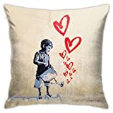 AOOEDM Banksy Hearts Throw Pillow Covers decoración del hogar Fundas de Almohada Decorativas para Cama sofá cojín sofá Funda de Almohada 18x18