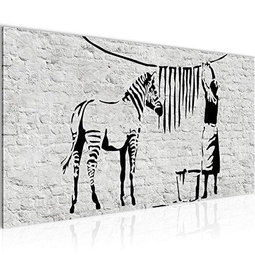 Wandbilder Washing Zebra Banksy 1 Teilig Modern Vlies Leinwand Wohnzimmer Flur Graffiti Grau 303212a