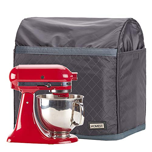 HOMEST Stand Mixer Quilted Dust Cover with Pockets Compatible with KitchenAid Tilt Head 4.5-5 Quart, Grey (Patent Pending)