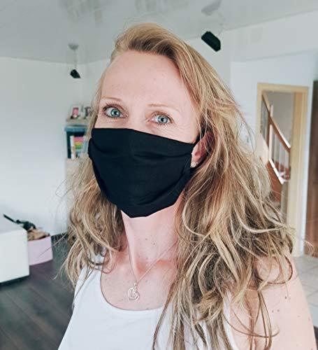 Elastomer24 Gesichtsmaske Behelfsmaske Behelfsmundschutz 100% Baumwolle Schwarz