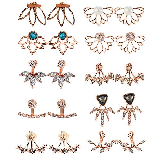 10 Pairs Ear Jacket Lotus Flower Earrings for Women and Girls trendy peekaboo unique hollow chic front and back earrings set