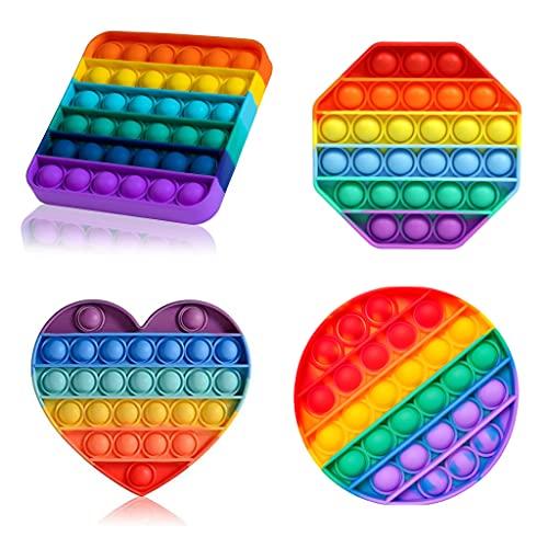 ENVIQE Pop it Fidget Toy Set, Fidgets Toys, Baby Spielzeug, Figetttoys, Popit, Ostergeschenke Kinder,Squishy Toys, Anti Stress Popet (Rainbow Octagon, Square, Round and Heart) (EUIPO: 008583090-0001)