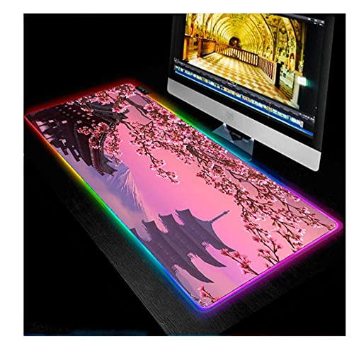 Gaming Mouse Pads Pink Cherry RGB Mouse Pad Mountains Vintage Pattern Extended Large Glowing LED Gaming Keyboard Mat Non Slip Waterproof Pc Desk Mat Smooth Surface USB Ports 35.4X15.7Inch