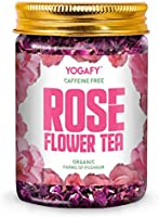 YOGAFY - Organic Rose Flower Tea | Enhances Mood Caffeine Free Herbal Tea |100g - 100 Cups |