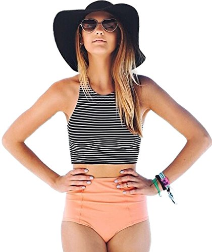 Mansy Women's 2PCS Stripe Padded Push Up High Waisted Bikini Swimsuit Swimwear, Black M