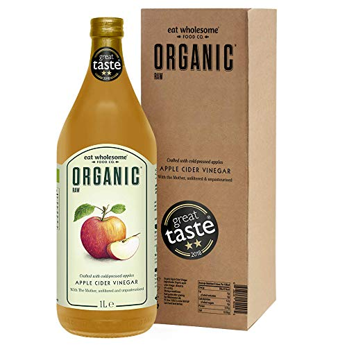 Eat Wholesome Organic Raw Apple Cider Vinegar Unfiltered with The Mother, in Box, 1L