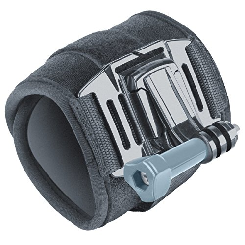 Wrist Strap Band Style GoPro Action Camera Mount w/ 2-Point Neoprene Strap , J Hook and Tripod Adapter by USA Gear - Works With GoPro HERO6 BLACK , HERO5 Black/Session , YI 4K , AKASO EK7000 & More