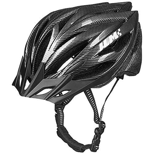 ILM Youth Adult Bike Bicycle Helmet Quick Release Strap Lightweight Casco Suits Biking Cycling MTB (Carbon, Large/X-Large)