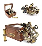 The New Antique Store - Brass Sextant Instrument Nautical Sextent for Navigation Gift Marine Antique Functional Astrolabe, in Hardwood Gift Box