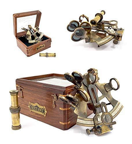 Sestante con scatola in legno massiccio e top in vetro, strumento per la navigazione, 12,7 cm, motivo: con nave