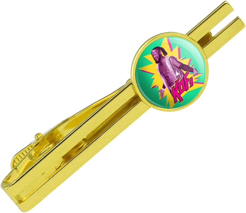 GRAPHICS & MORE WWE Kofi Kingston Round Tie Bar Clip Clasp Tack Gold Color Plated