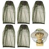 KARLOR 5 Stück Moskitonetz Kopf Moskito Kappe Kopfnetz für Gesicht, Hals und Gesicht für Imkerei im Freien Angeln Camping Outdoor-Aktivitäten