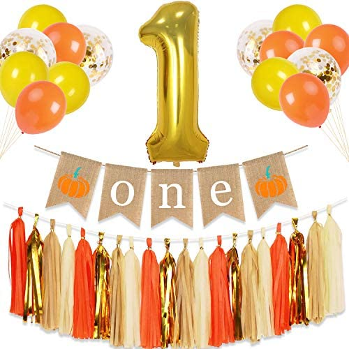 Pumpkin 1st Birthday Banner Autumn Fall First Party Decoration Highchair One Orange Yellow Glitter product image