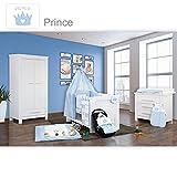 Babyzimmer Enni in weiss 10 tlg. mit 2 türigem Kl. + Textilien von Prince in Blau