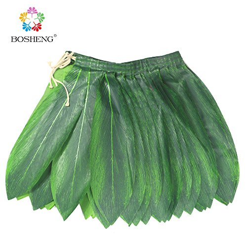 BOSHENG Ti Leaf Hula Skirt Luau Party Accessory Green Skirt Adult Size