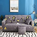 Xiaobyyao Universeller All-Inclusive Rutschfester elastischer Dreier 190-230cm Happy Full House,Stück Stretch Sofa Couch Bezüge Spandex Printed Couch Schonbezug - Sessel Sesselbezug