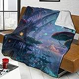 YURONG Setas psicodélicas Manta de Microfibra de Lana de Cordero Manta de Microfibra de Lujo Impreso en 3D Suave y Duradera Manta de Felpa para Dormitorio Salas de Estar Sofá