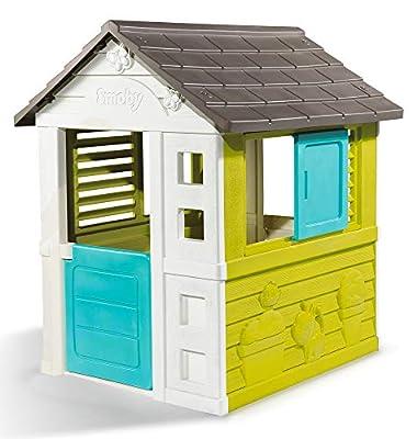 Smoby 810710 Pretty Spielhaus, Kinderspielhaus für Indoor und Outdoor, Gartenhaus für Kinder ab 2 Jahren, türkis
