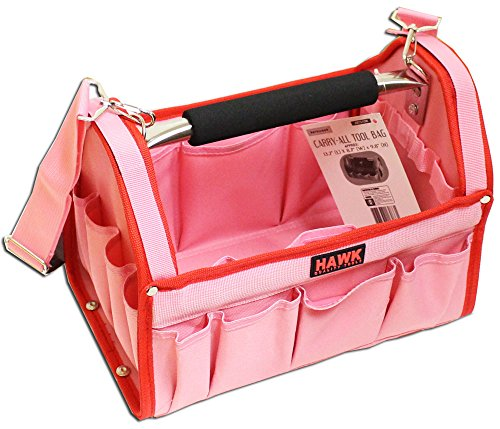 Pretty Pink Tool Carry-All With Red Trim-12-1/2 X 9-1/2 X 8 Inches With Multiple Pockets And Metal Handle: AB73-13W-PNK