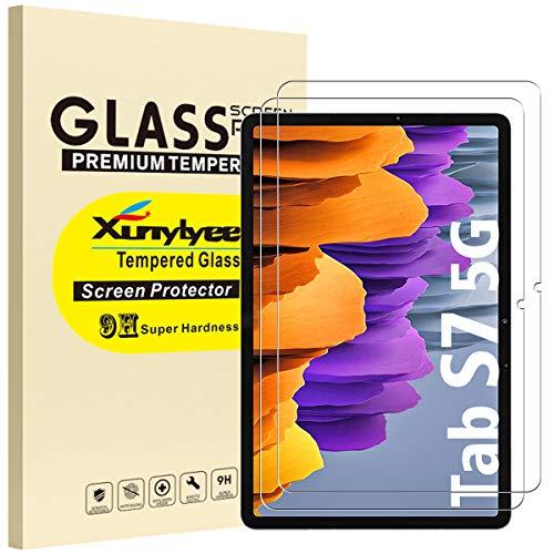 XunyLyee [2 Stück] Panzerglas Schutzfolie Kompatibel mit Samsung Galaxy Tab S7 11 Zoll , Einfache Installation Gehärtetem Glas Displayschutz für Galaxy Tab S7 SM-T870/T875