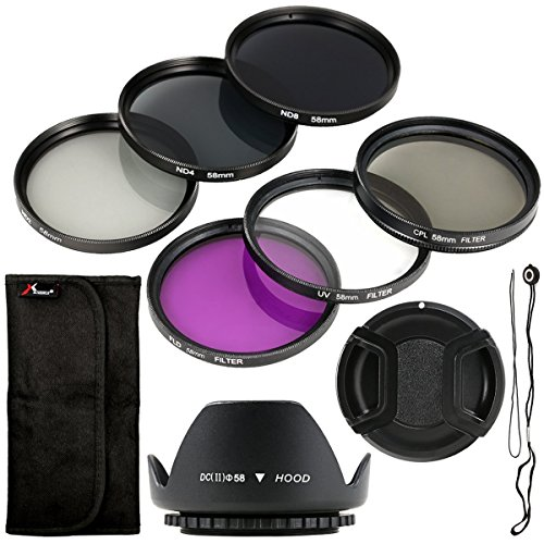 6-teiliges UV CPL ND Filter + Gegenlichtblende +Halter 58mm für Canon EOS Canon EOS Rebel XSi T4i T3i 70D 60D 700D 650D 1100D 1000D 600D 50D 550D 1DX 5D Mark 5D2 5D3 6 Rebel XSi T4i T3i LF134