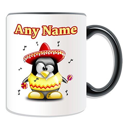 UNIGIFT gepersonaliseerd geschenk - Mariachi mok (Penguin kostuum ontwerp kleur) Naam boodschap Unieke dom grappige nieuwigheid Mythe Mexico Mexicaanse Muziek Band Hoed Sombrero
