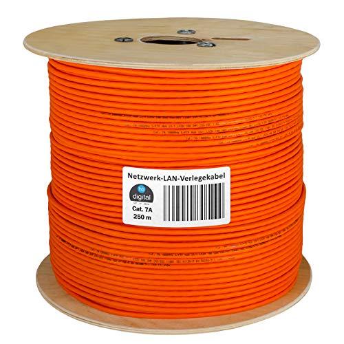 HB-DIGITAL 250m cat.7A Netzwerkkabel LAN Verlegekabel AWG 23/1 Orange Cable cat 7 Kupfer Profi S/FTP PIMF LSZH Halogenfrei RoHS-Compliant Cat7a cat.7 a Ethernet Datenkabel 10Gbit 1000MHz 10 Gigabit