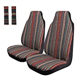 Copap Cute Colorful Stripe Front Seat Cover Baja Blanket Bucket Seat Cover 4pcs Universal Saddle Blanket with Seat-Belt Pad Protectors for Car, SUV & Truck (2 seat Covers+2 seat Belt Covers)