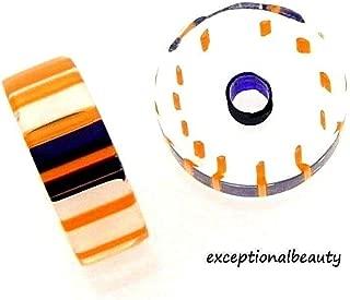 30 Blown Cane 11x4mm Furnace Glass Slice Disc Orange Royal Blue Striped Beads