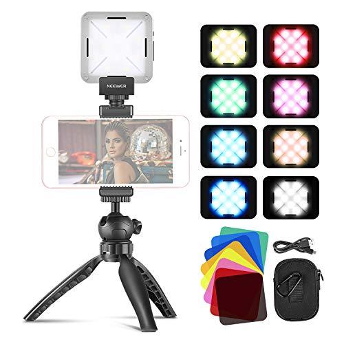 Neewer Luce 12 SMD LED Mini Tascabile On-camera CRI 95+ con Mini Treppiedi & Filtri Colorati per Runion Zoom/Lavoro Remoto/Self Broadcasting/YouTube Video/Live Streaming