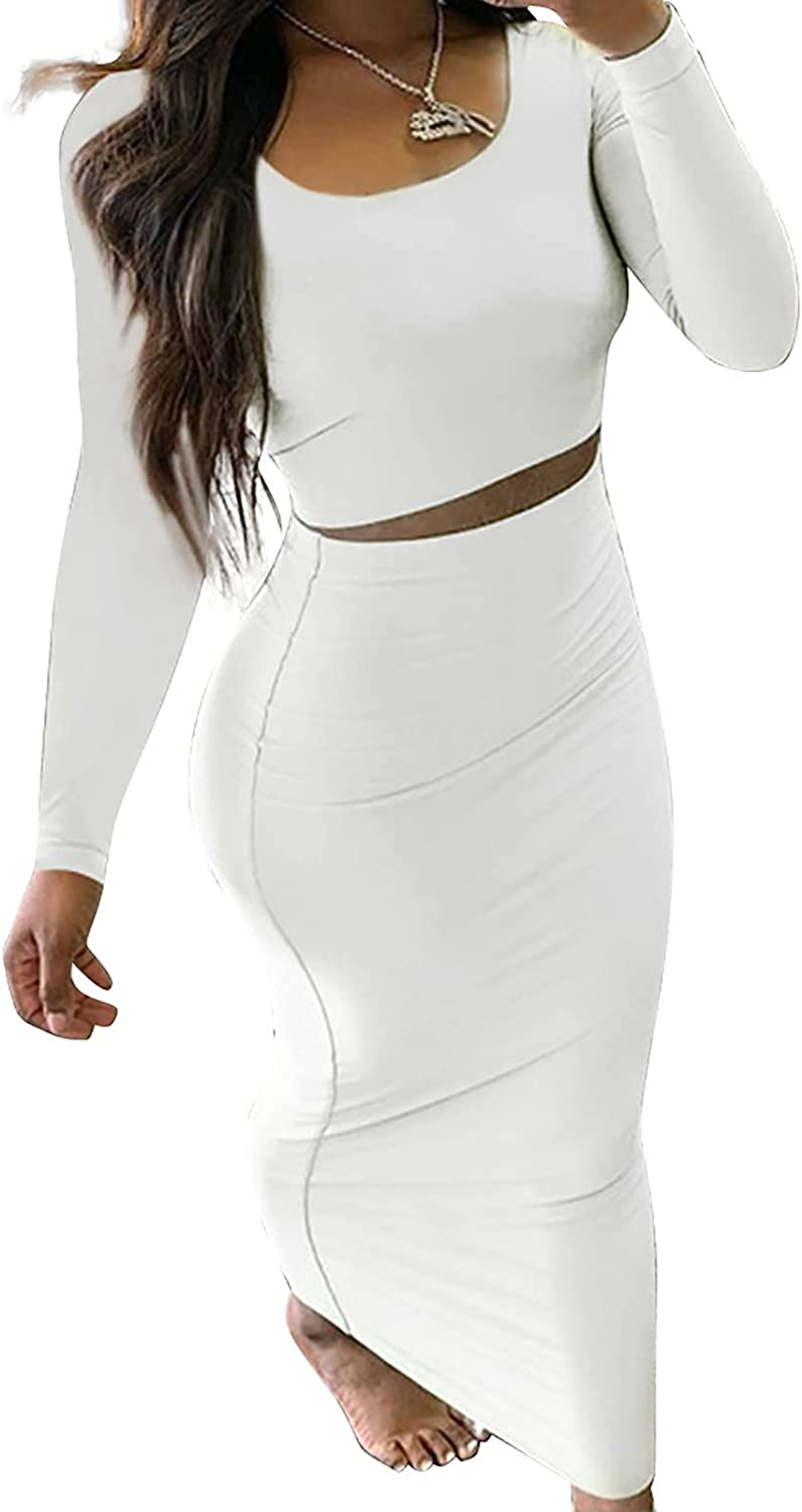 acelyn 2 Pieces Dress Outfits Bodycon Long Sleeve Crop Tank Top and High Waisted Maxi Dress