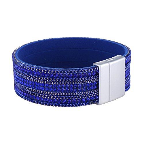 Morella Bracciale Donna Decorato con zirconi e con Chiusura Magnetica Blu