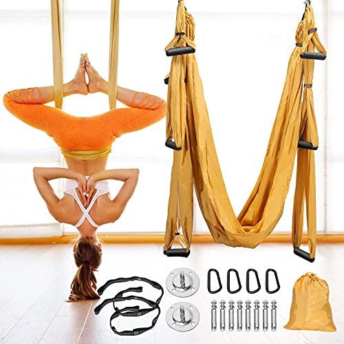 GJCrafts Aerial Yoga Swing, Karabiner mit 4 glatten Kanten, Aerial Yoga Hängematten-Set mit Deckenmontage Ausrüstung, ultrastarke Antigravitation Für Heimgymnastik Outdoor Heimgymnastik Fitness