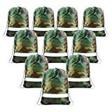 Party Bags Camo Drawstring Bags 10 pcs, Give Away Bags for Birthday Party