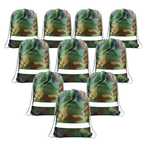 Camouflage Turnbeutel 10 Stück Party Kindergeburtstag Mitgebsel für Jungen, Motto-Party Gastgeschenke, Kinder Give Aways Beutel mit Reflexstrifen