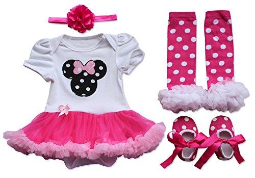 YiZYiF Tutu de bébé fille Combinaison Baptême Robe Bandeaux Chausurres Jambières Set 0-9 Mois (0-3 M, Blanc & Rouge Minie)