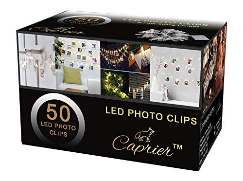 CAPRIER Luxury Teen Girl Room Decor, Photo Clips String Light, 50 LED Clips, Teen Room Decor, Dimmable 8 Modes Timer, USB Battery Powered, Dorms Decoration, Lights with Clips for Pictures, Gift