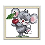 Yuelso El Estilo de Dibujos Animados Ratón Poco Recogiendo Las Cerezas del Hilo de algodón Hilo Dental for los Kits de Bordado Cruzado contado de la Costura