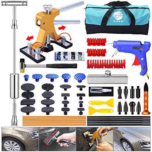 YOOHE Dent Puller Kit - 53pcs Paintless Dent Repair Kit with Slide Hammer T-Bar Dent Puller and Adjustable Gold Dent Lifter Puller for Car Hail Damage Dent & Ding Remover
