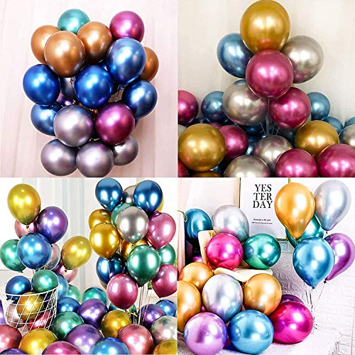 Transparent 100 Stück Luftballons Metallic,Ballon mit gemischten Farben,latexballons metallic,Luftballons Geburtstag Hochzeit Party, Metallballon Partyballon für Geburtstag