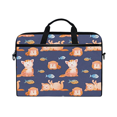 Laptop Case, Cat Fish Personalised Printed with 3 Compartment Shoulder Strap Handle Canvas Notebook Computer Bag Perfect for Boys Girls Women Men 13 13.3 14 15 inch