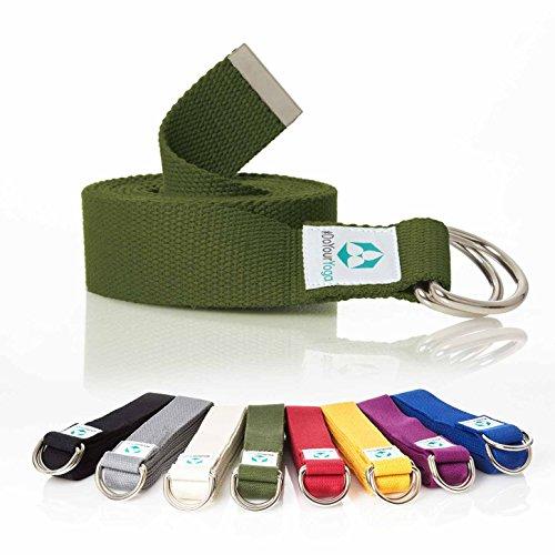 #DoYourYoga Yogagurt »Madira« / Yoga-Belt Gurt 100% Baumwolle mit stabilem Metall-Ring-Verschluss / 250 x 3,8 cm/grün